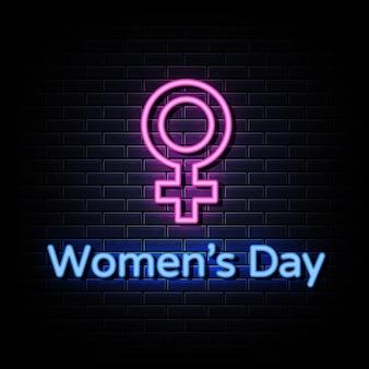 Style d'enseignes au néon pour la journée des femmes