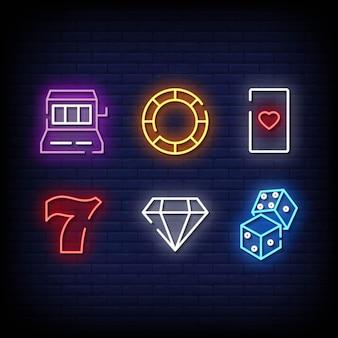 Style d'enseignes au néon de symbole de casino