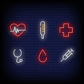 Style d'enseignes au néon de symbole médical