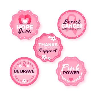 Style d'étiquettes du mois de sensibilisation au cancer du sein