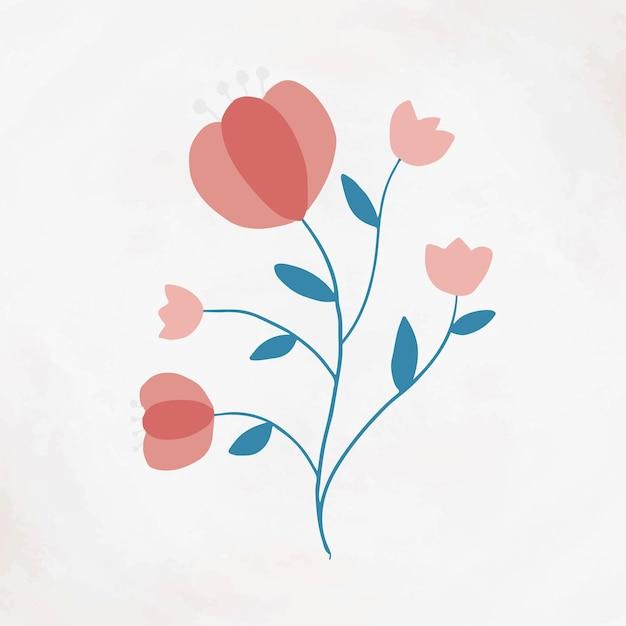 Style féminin de vecteur d'élément de fleur rose en fleurs