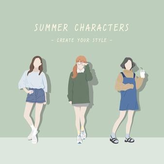 Style femme d'été, personnages mignons et à la mode.