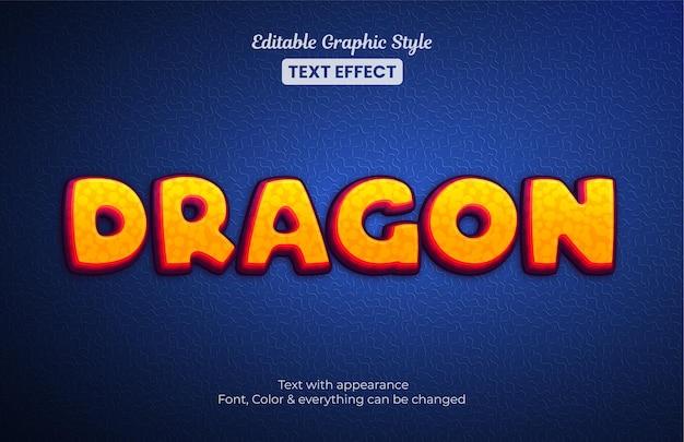 Style de flamme orange dragon, effet de texte de style graphique modifiable