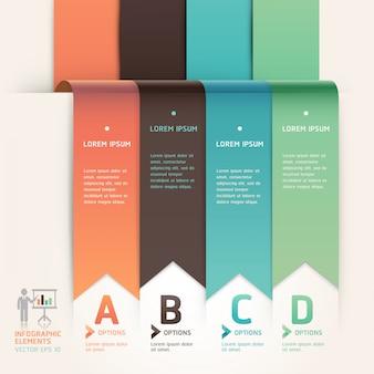 Style de flèche moderne origami intensifier le modèle d'options. mise en page du flux de travail, diagramme, conception de sites web, options numériques, infographie.