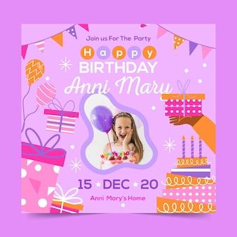 Style de flyer carré de célébration d'anniversaire