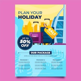 Style de flyer illustré de vente de voyage