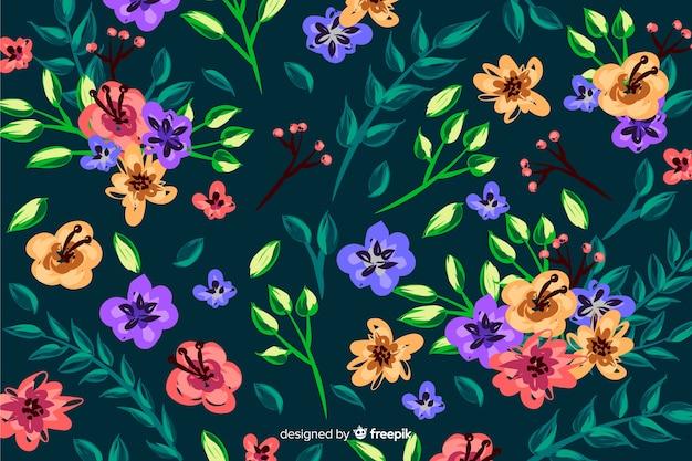 Style de fond de fleurs colorées peintes