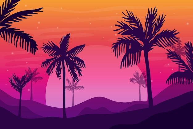 Style de fond de silhouettes de palmier