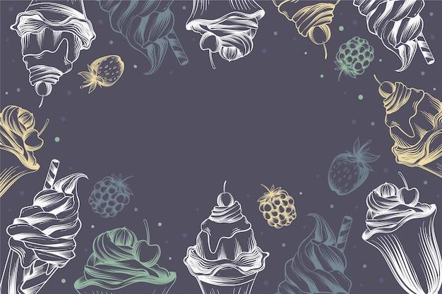 Style de fond de tableau noir de crème glacée