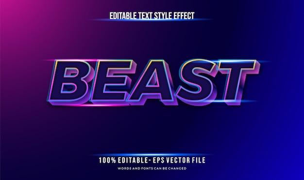 Style futuriste et style de texte modifiable effet bleu brillant