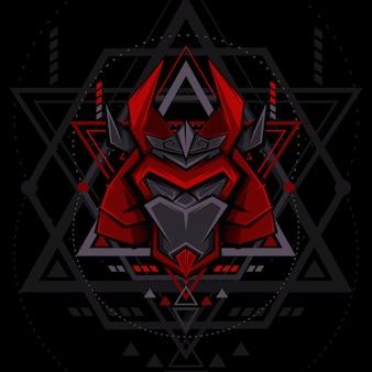 Style de géométrie du masque mecha samurai