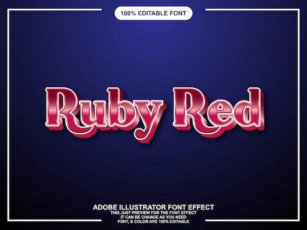 Style graphique éditable texte brillant rouge rubis
