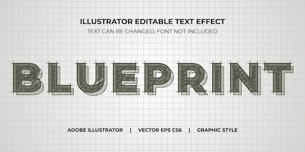 Style graphique d'illustrateur d'effet de texte vectoriel blueprint pencil sketch