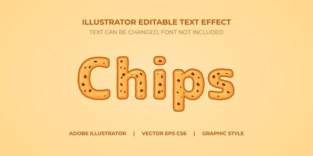 Style graphique d'illustrateur d'effet de texte vectoriel choco chips cookies