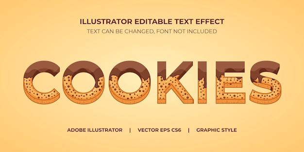 Style graphique d'illustrateur d'effet de texte vectoriel cookies au chocolat