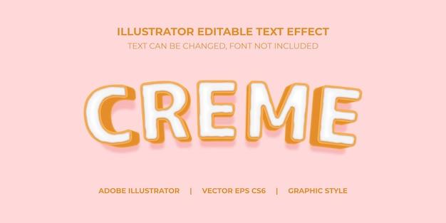 Style graphique d'illustrateur d'effet de texte vectoriel creme cookies