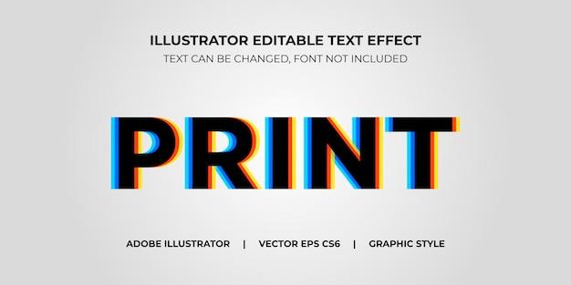 Style graphique d'illustrateur d'effet de texte vectoriel impression offset
