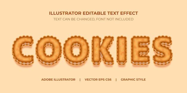 Style graphique d'illustrateur d'effet de texte vectoriel sandwich cookies