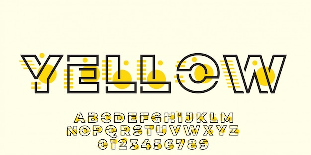 Style graphique moderne d'effet de texte jaune