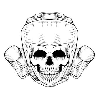 Style de gravure de boxe crâne tête dessinée à la main style de gravure de dessin au trait