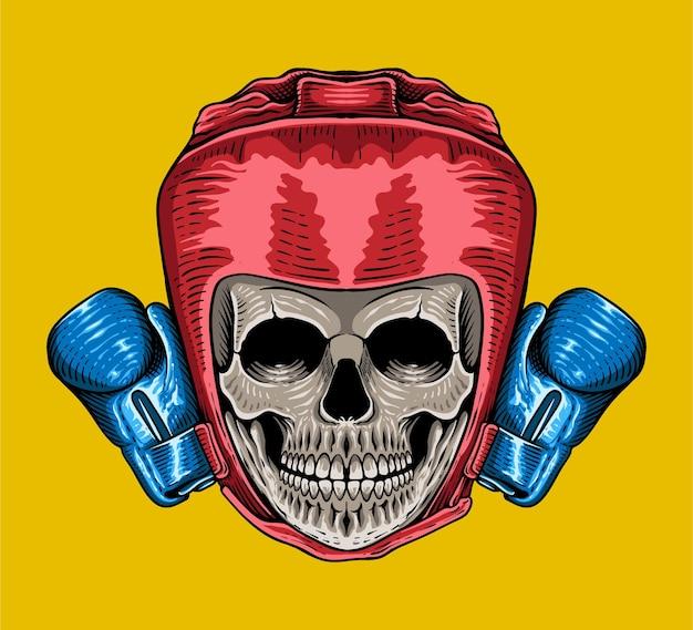Style de gravure de boxe crâne tête dessinée à la main