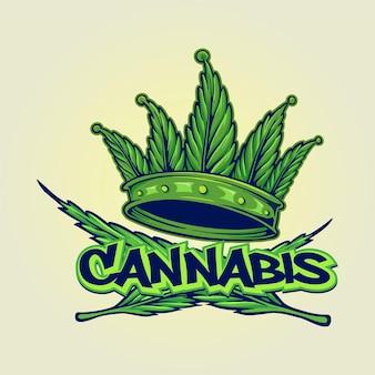 Style hip hop de logo de couronne de cannabis vert