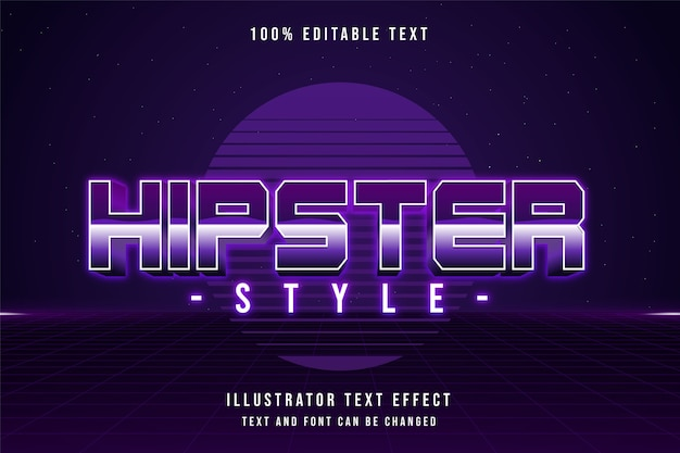 Style hipster, effet de texte modifiable 3d dégradé violet style de texte ombre rose des années 80
