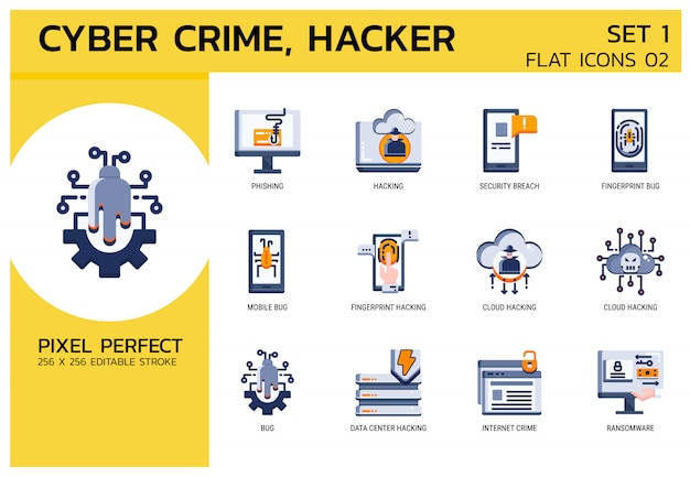 Style d'icônes plat. hacker cyber crime attack