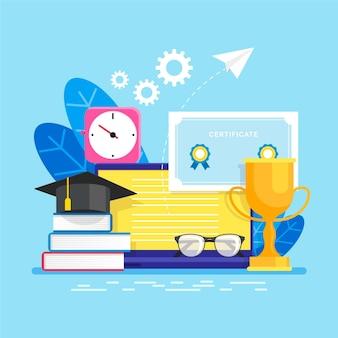 Style d'illustration de certification en ligne
