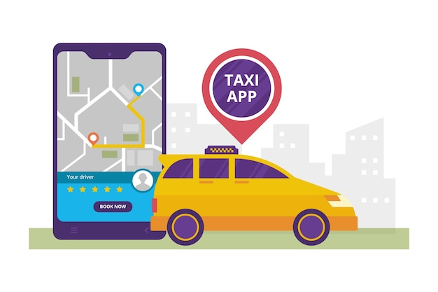 Style d'illustration de concept d'application taxi