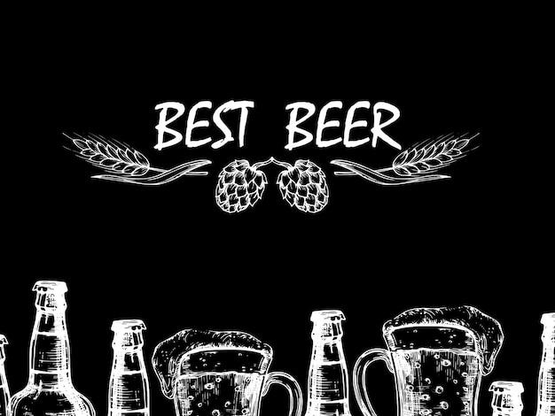 Style d'illustration de gravure rétro de vecteur avec des bouteilles et des verres de bière doodle