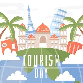 Style d'illustration de la journée mondiale du tourisme dessiné à la main