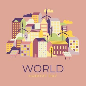 Style illustré de la journée mondiale de l'habitat