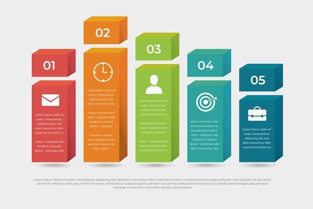 Style infographique de couches de blocs 3d