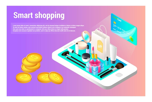 Style isométrique. achats intelligents en ligne. magasin de cosmétiques.