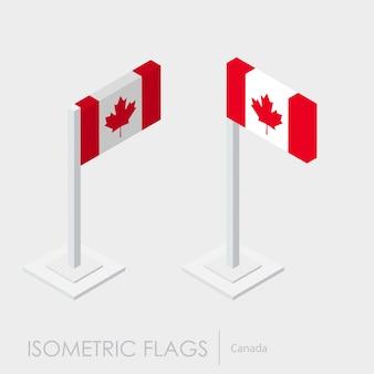 Style isométrique du drapeau canada, style 3d