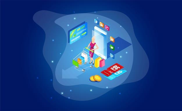 Style isométrique. magasin en ligne. shopping numérique.