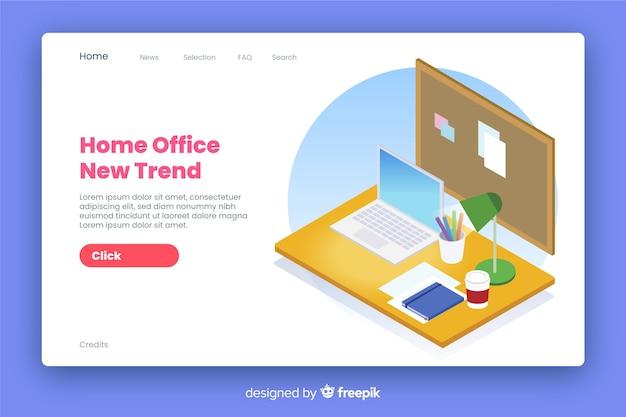 Style isométrique de la page de renvoi du bureau à domicile