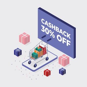 Style isométrique pour le concept de cashback