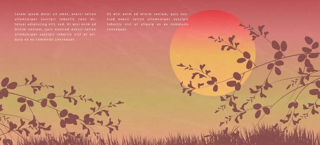 Style japonais oriental motif abstrait design fond coucher de soleil vue de paysage de branche d'arbre et d'herbe au sol