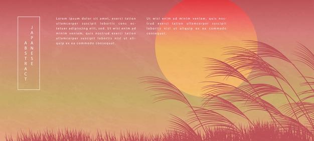 Style japonais oriental motif abstrait design fond coucher de soleil vue paysage de roseau et herbe au sol
