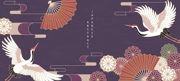 Style japonais oriental motif abstrait design fond fleur marguerite ventilateur pliant et grue d'oiseau