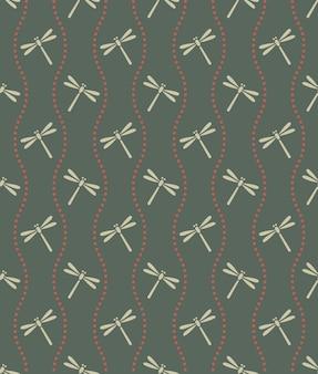 Style japonais rétro vintage transparente motif vague ligne de points et libellule