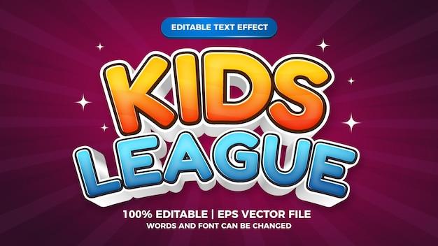 Style de jeu de bande dessinée avec effet de texte modifiable de la ligue pour enfants