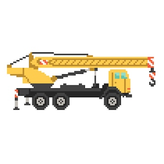 Style de jeu de camion grue jaune