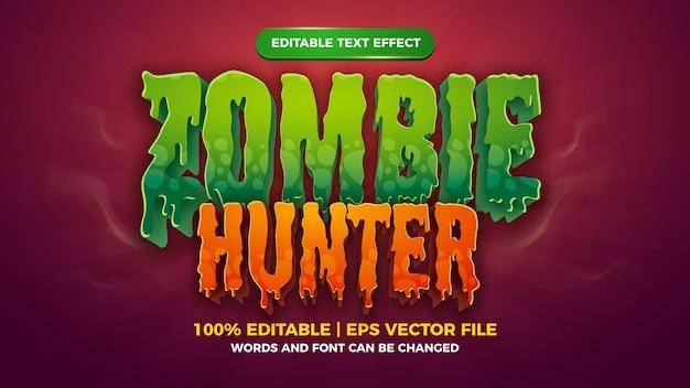 Style de jeu comique de dessin animé effet de texte modifiable chasseur de zombies