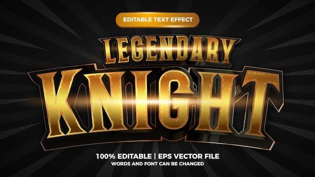 Style de jeu comique de dessin animé effet de texte modifiable chevalier légendaire