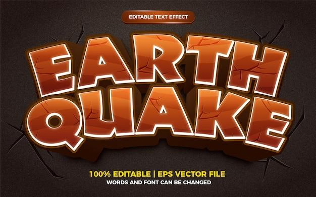Style de jeu comique de dessin animé effet de texte modifiable tremblement de terre