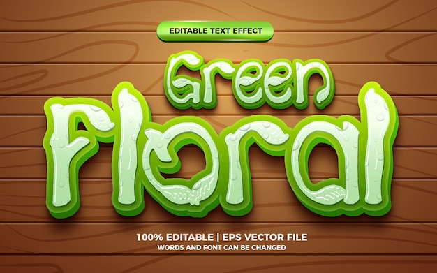 Style de jeux de dessin animé comique à effet de texte modifiable en 3d floral vert