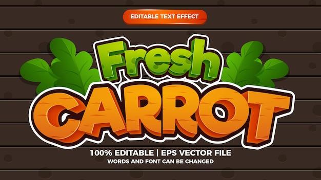 Style de jeux de dessin animé comique effet de texte modifiable de carottes fraîches